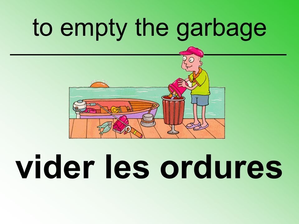 to empty the garbage vider les ordures