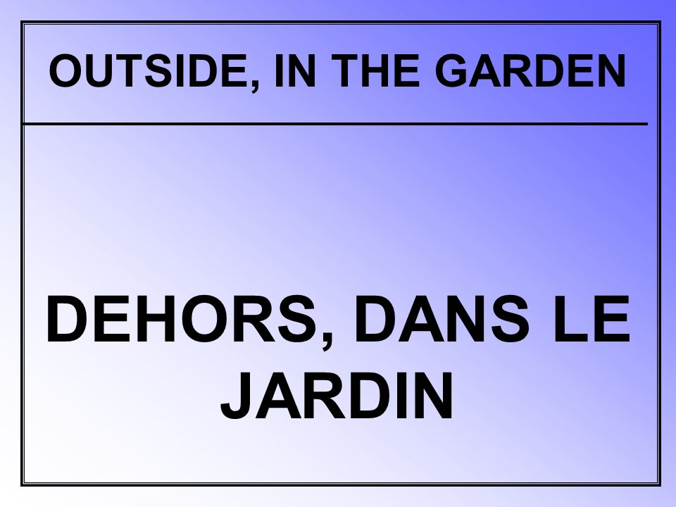 OUTSIDE, IN THE GARDEN DEHORS, DANS LE JARDIN