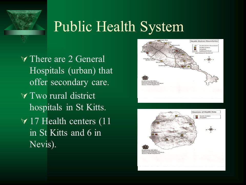 Public Health System There are 2 General Hospitals (urban) that offer secondary care. Two rural district hospitals in St Kitts.