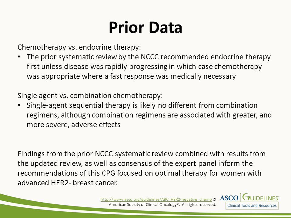 Prior Data Chemotherapy vs. endocrine therapy: