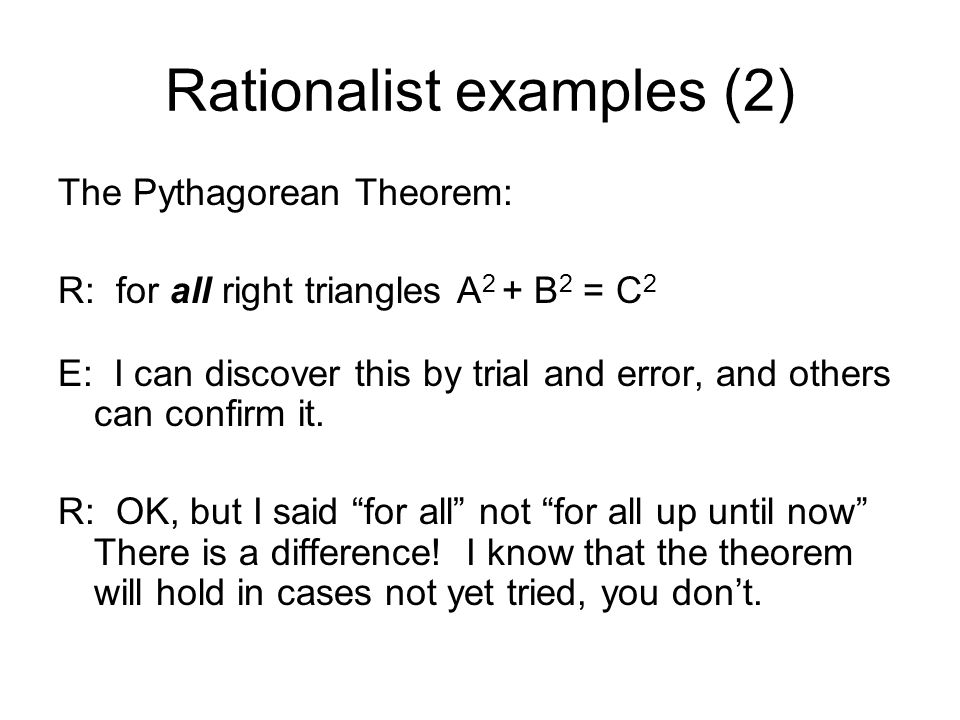 Rationalist examples (2)