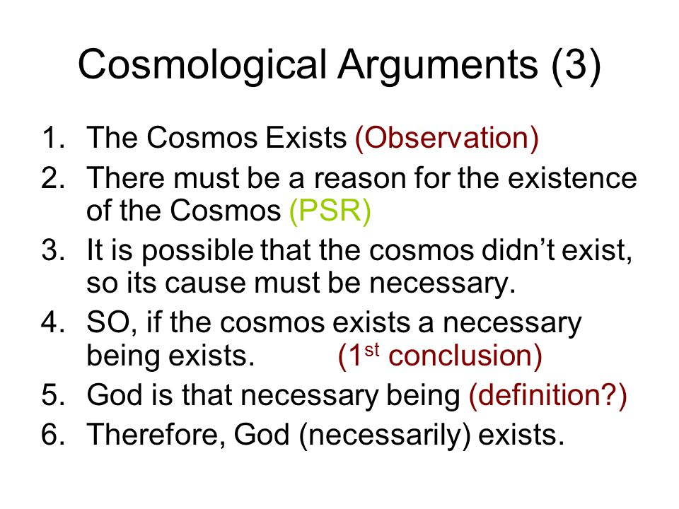 Cosmological Arguments (3)