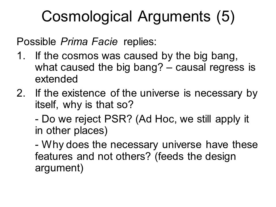Cosmological Arguments (5)