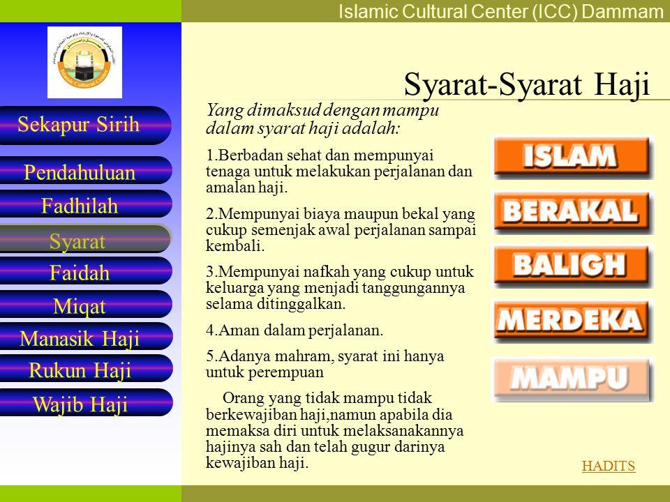 Syarat-Syarat Haji Yang dimaksud dengan mampu dalam syarat haji adalah: