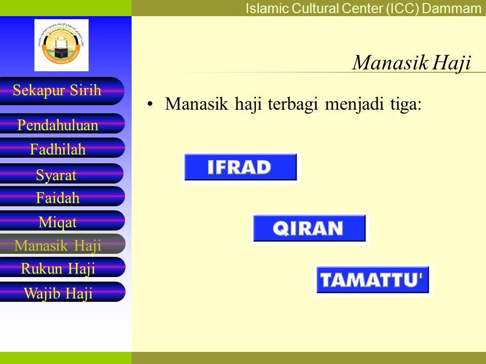 Manasik Haji Manasik haji terbagi menjadi tiga: