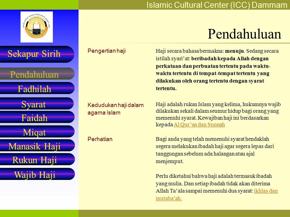 Pendahuluan Pengertian haji Kedudukan haji dalam agama Islam Perhatian