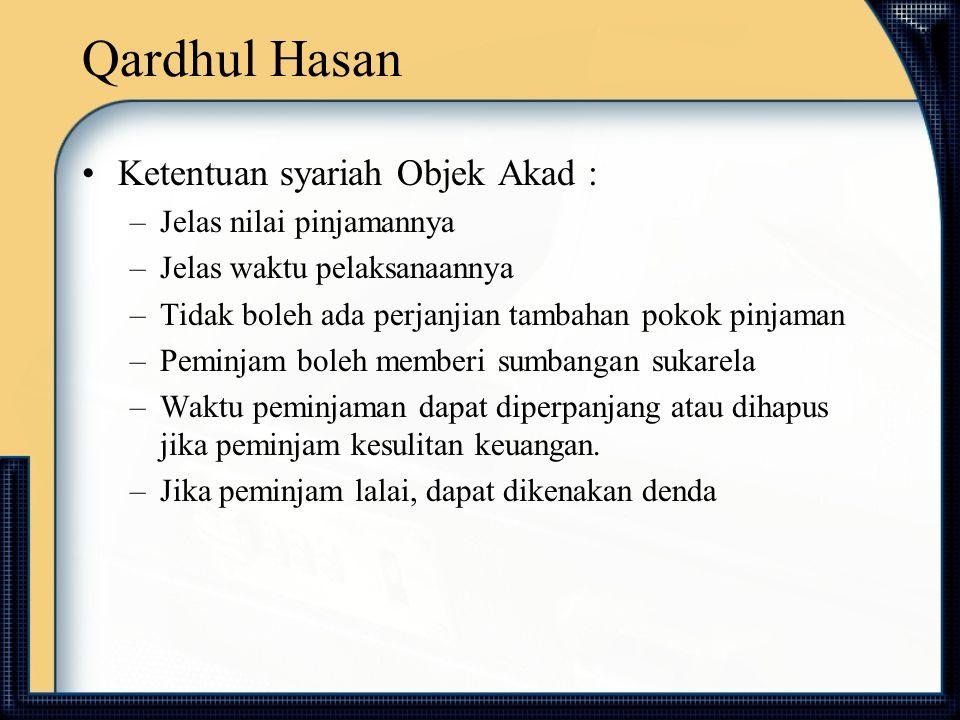 Qardhul Hasan Ketentuan syariah Objek Akad : Jelas nilai pinjamannya