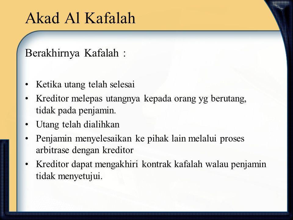 Akad Al Kafalah Berakhirnya Kafalah : Ketika utang telah selesai