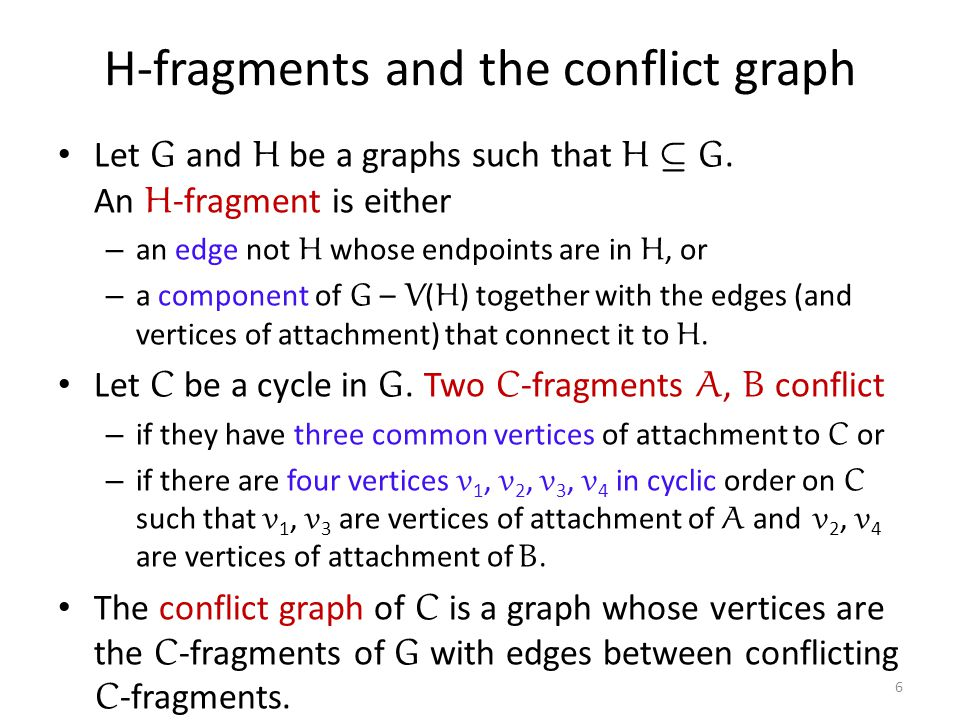 H-fragments and the conflict graph