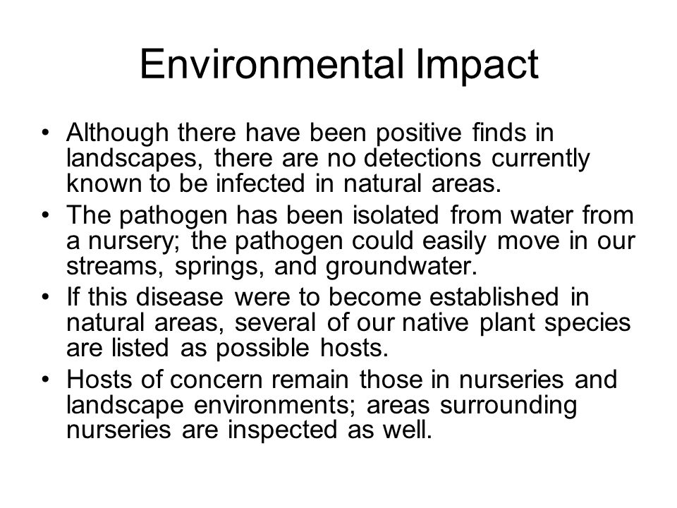 Environmental Impact Although there have been positive finds in landscapes, there are no detections currently known to be infected in natural areas.