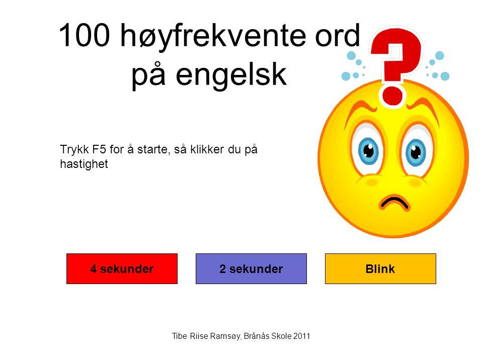 100 høyfrekvente ord på engelsk