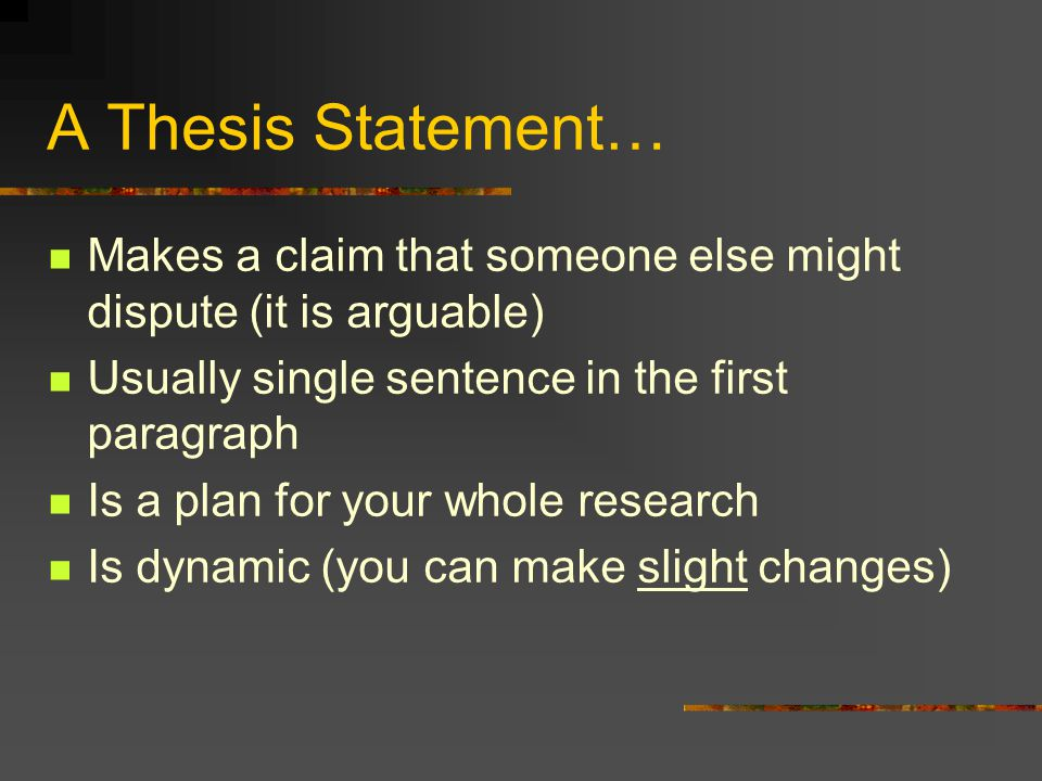 "thesis sentence that says can or may You should be able to provide the thesis statement in one or two sentences (most   called a ""conclusion"") is a short recap of what you have said in the essay."