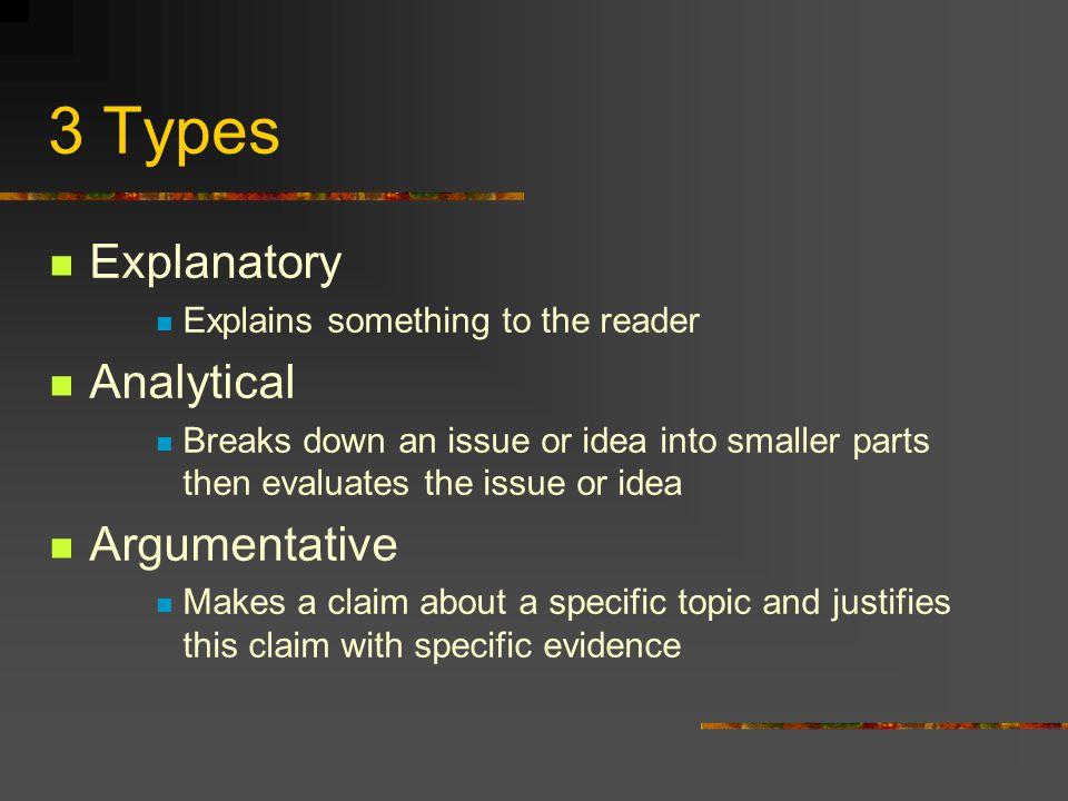3 Types Explanatory Analytical Argumentative