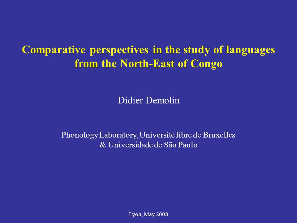 Comparative perspectives in the study of languages from the North-East of Congo