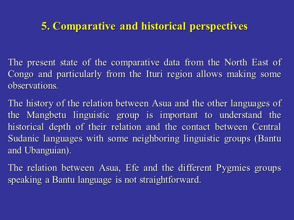 5. Comparative and historical perspectives