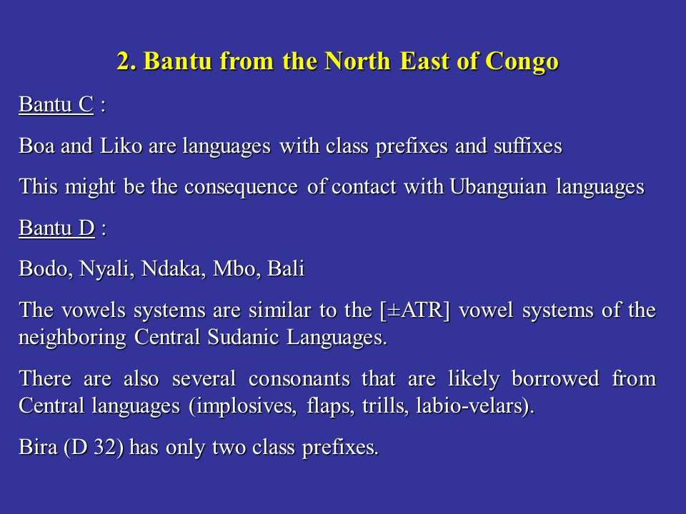 2. Bantu from the North East of Congo
