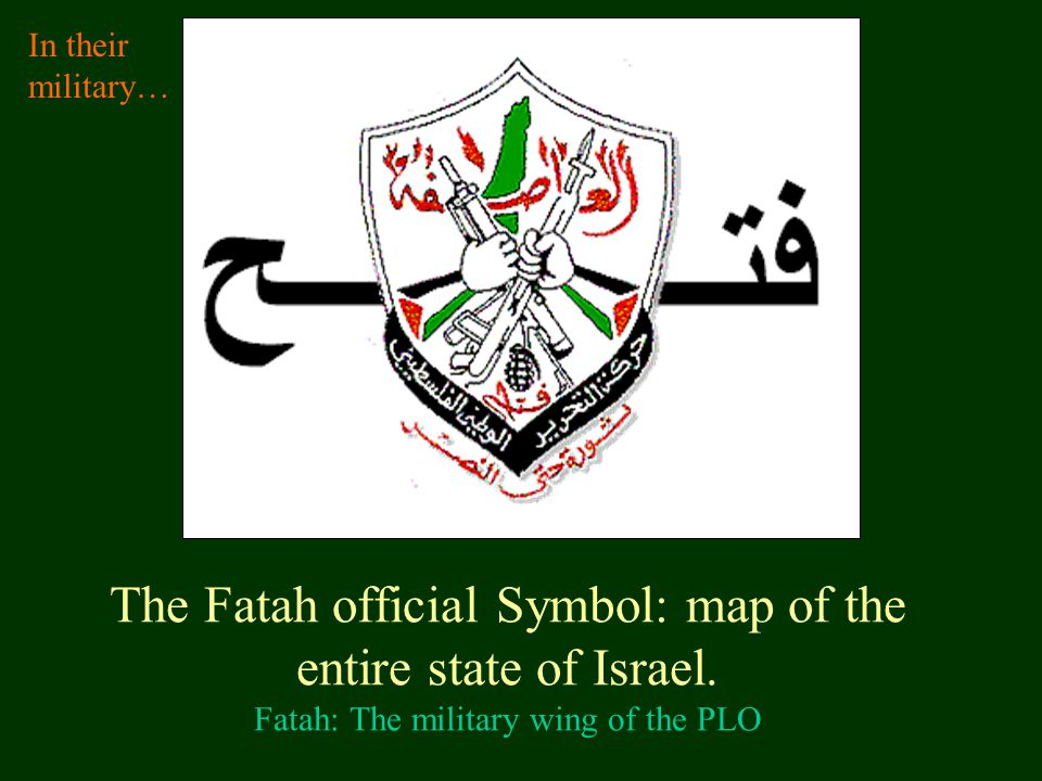 In their military… The Fatah official Symbol: map of the entire state of Israel.