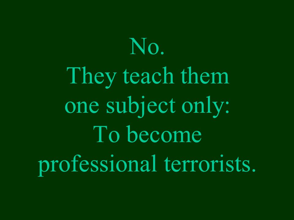No. They teach them one subject only: To become professional terrorists.