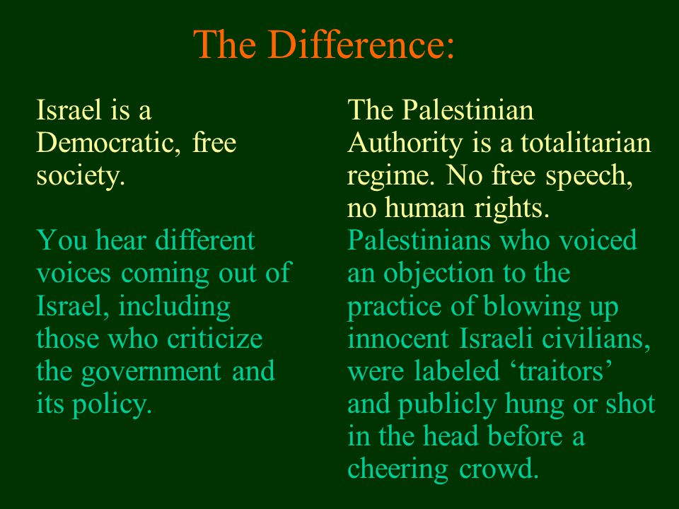 The Difference: Israel is a Democratic, free society.