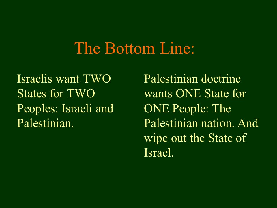 Israelis want TWO States for TWO Peoples: Israeli and Palestinian.