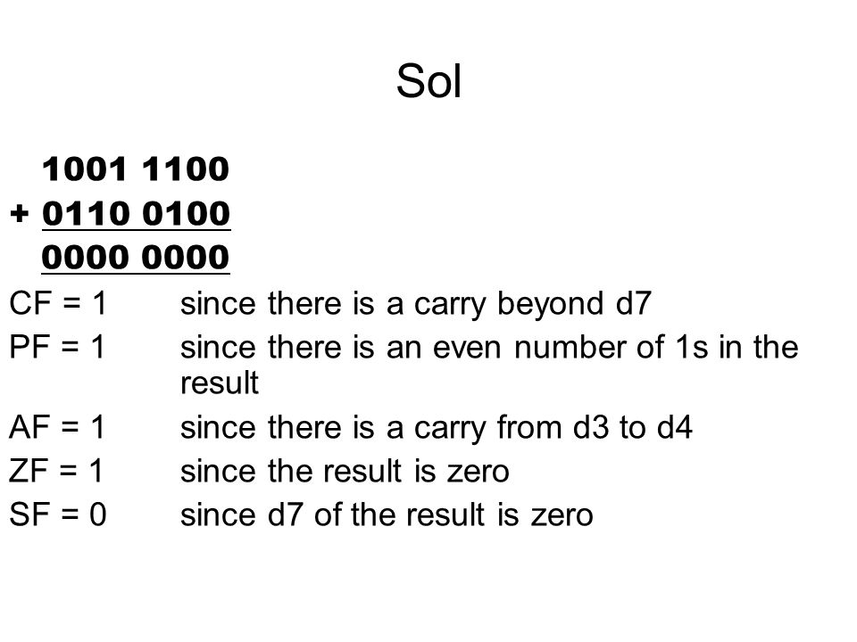 Sol 1001 1100. + 0110 0100. 0000 0000. CF = 1 since there is a carry beyond d7. PF = 1 since there is an even number of 1s in the result.