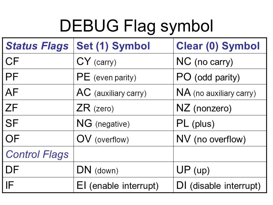 DEBUG Flag symbol Status Flags Set (1) Symbol Clear (0) Symbol CF
