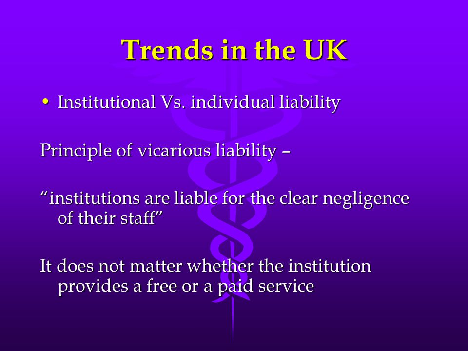 Trends in the UK Institutional Vs. individual liability