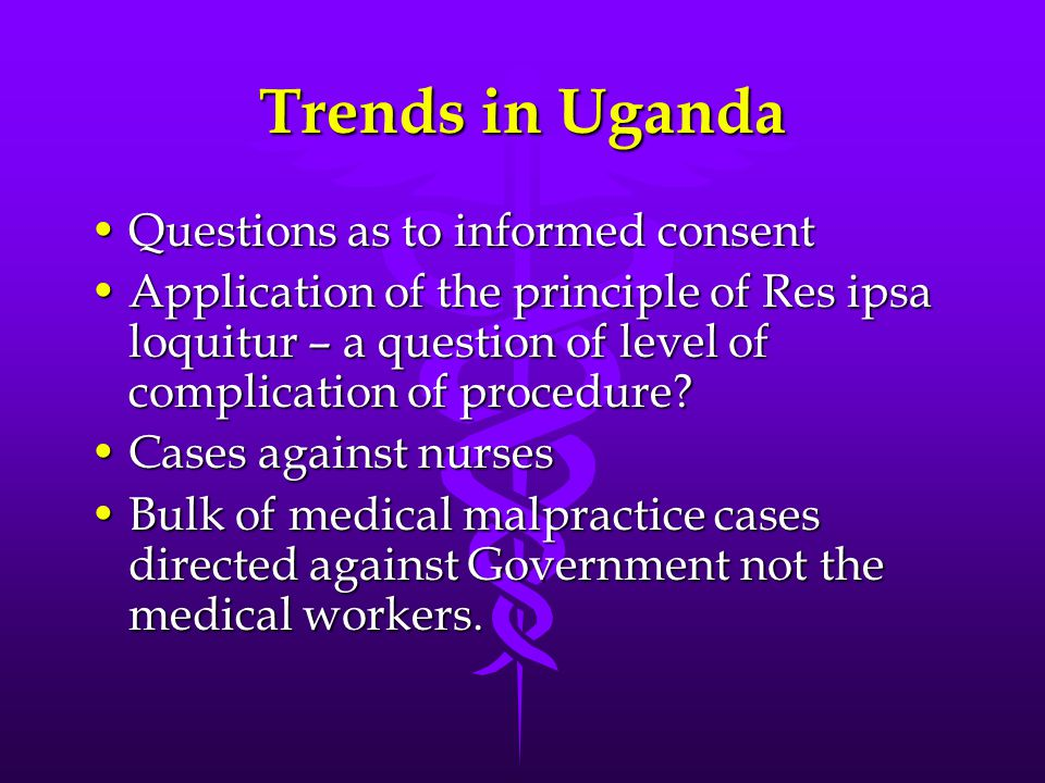 Trends in Uganda Questions as to informed consent