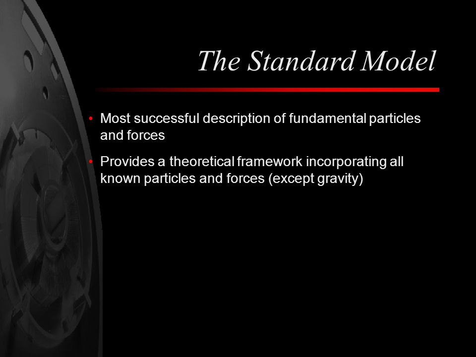 The Standard Model Most successful description of fundamental particles and forces.