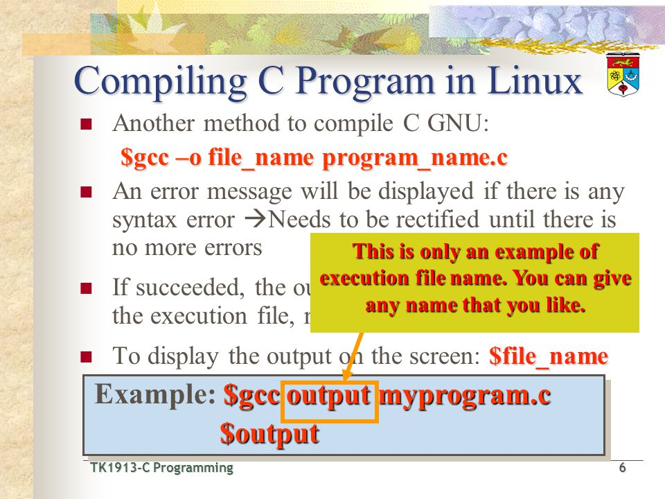 Compiling C Program in Linux