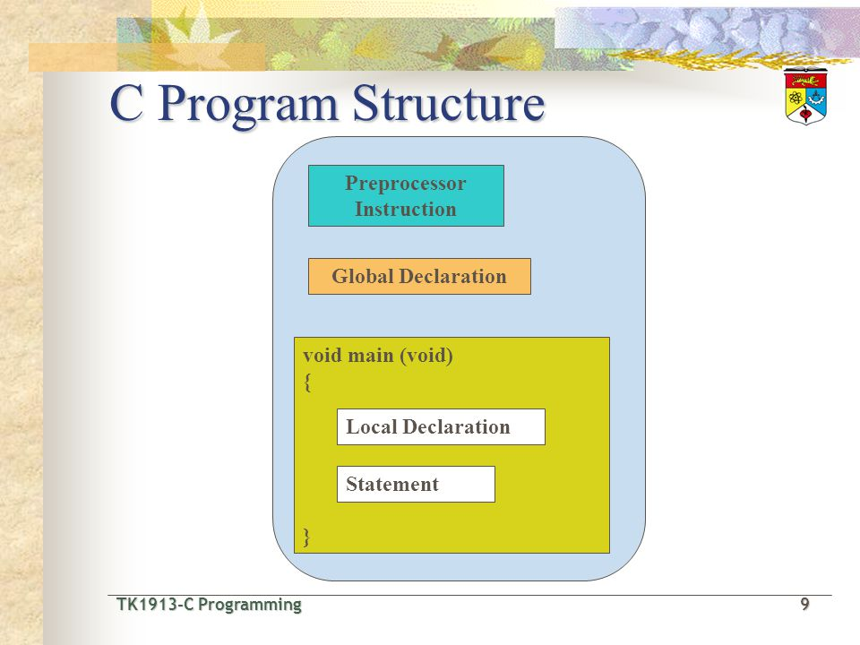 C Program Structure Preprocessor Instruction Global Declaration