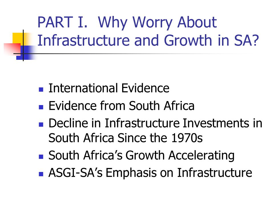 PART I. Why Worry About Infrastructure and Growth in SA