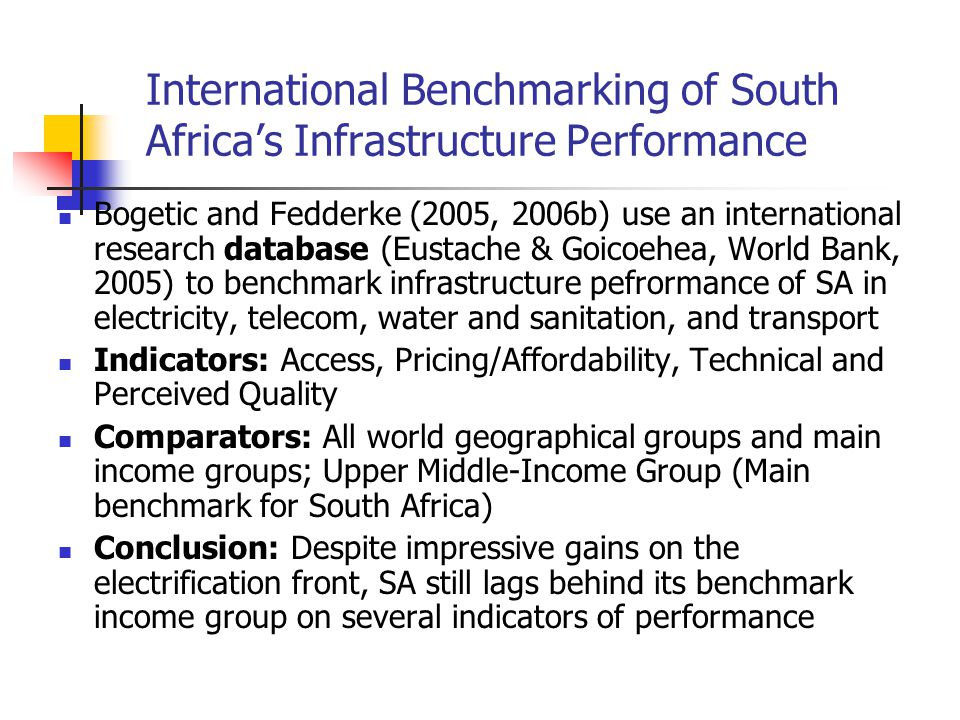 International Benchmarking of South Africa's Infrastructure Performance