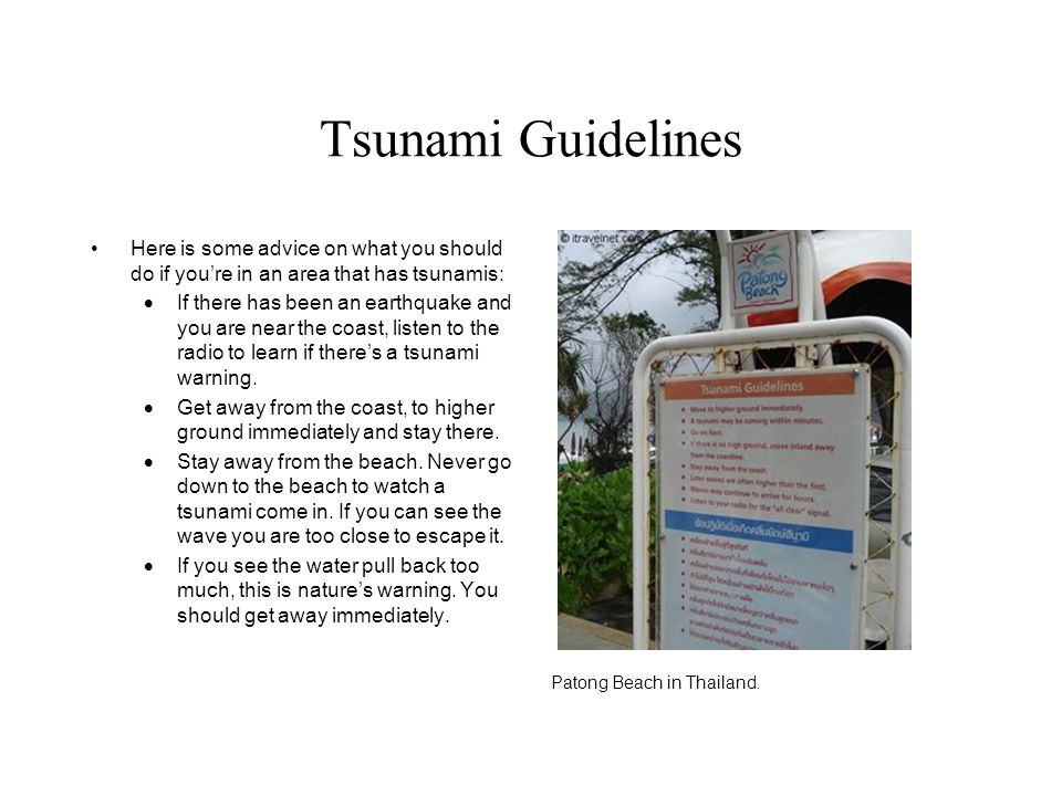 Tsunami Guidelines Here is some advice on what you should do if you're in an area that has tsunamis: