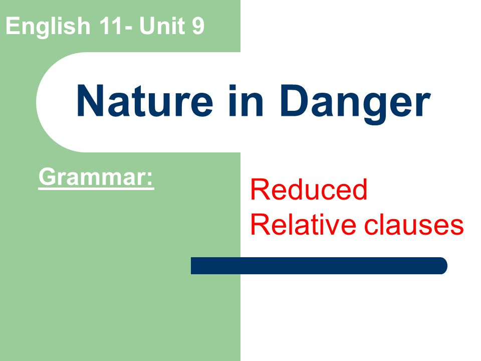 English 11- Unit 9 Nature in Danger Grammar: Reduced Relative clauses