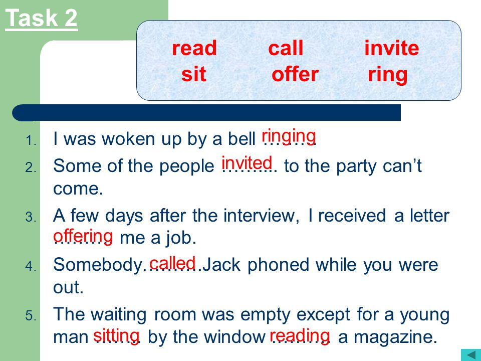 Task 2 read call invite sit offer ring ringing