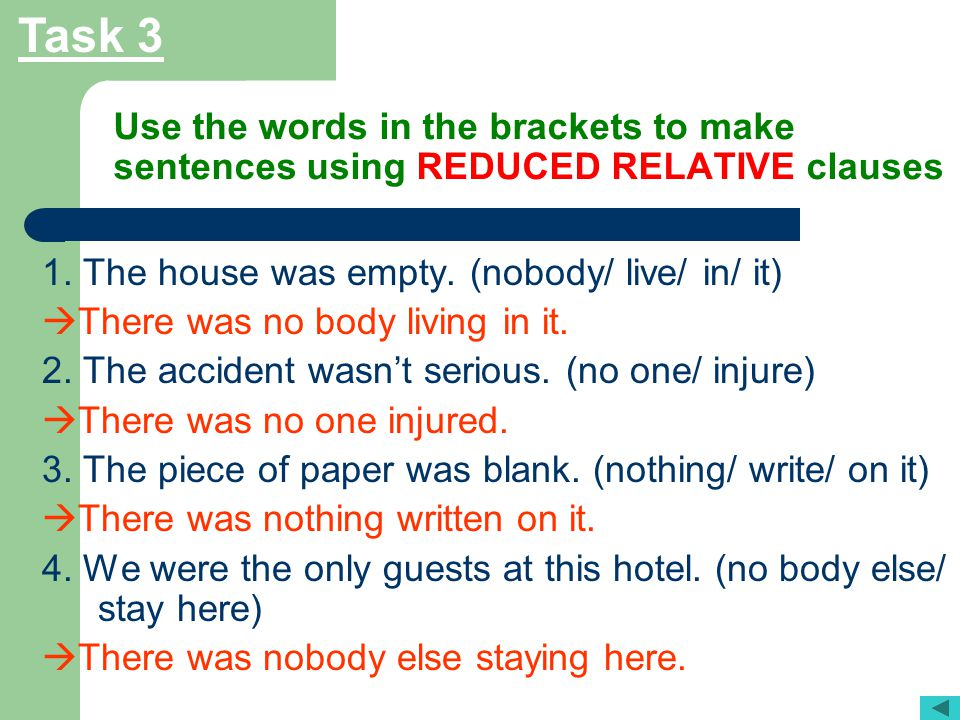 Task 3 Use the words in the brackets to make sentences using REDUCED RELATIVE clauses. 1. The house was empty. (nobody/ live/ in/ it)