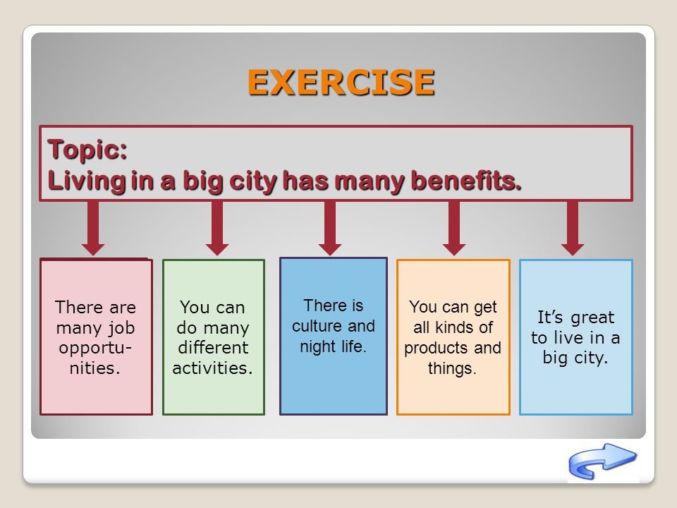 EXERCISE Topic: Living in a big city has many benefits.