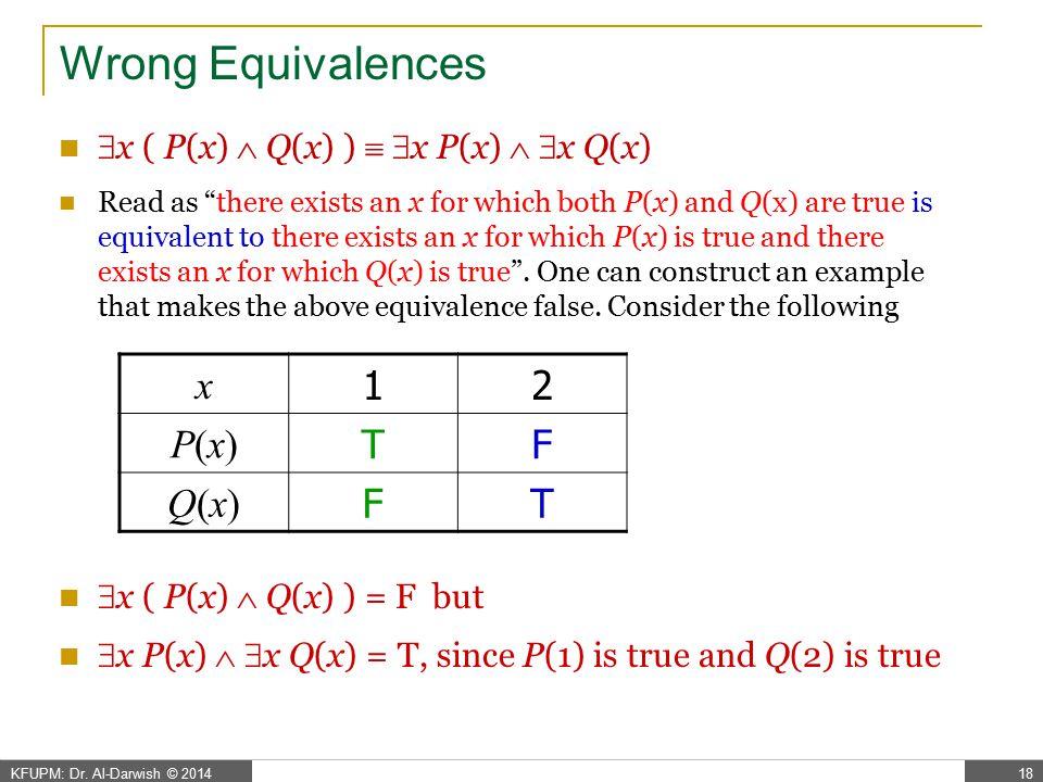 Wrong Equivalences x 1 2 P(x) T F Q(x)