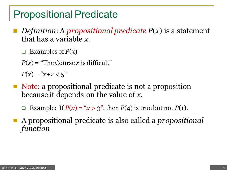 Propositional Predicate – cont.