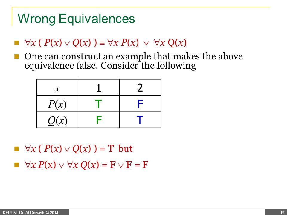Wrong Equivalences ( x P(x) )  Q(x)  x ( P(x)  Q(x) )