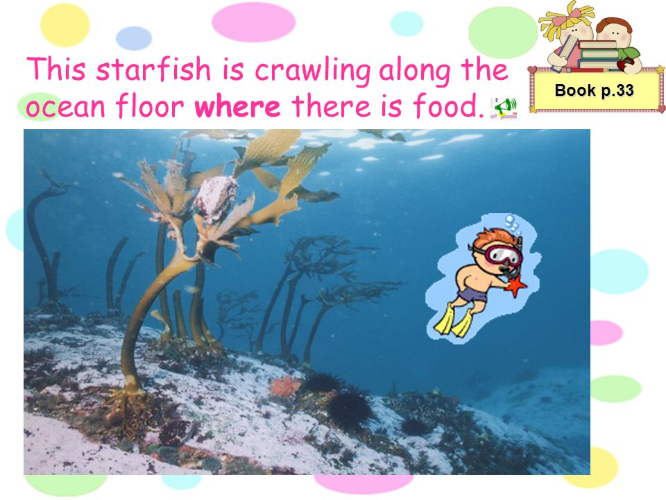 This starfish is crawling along the ocean floor where there is food.