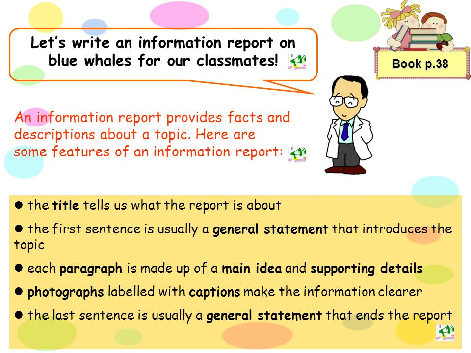 Let's write an information report on blue whales for our classmates!