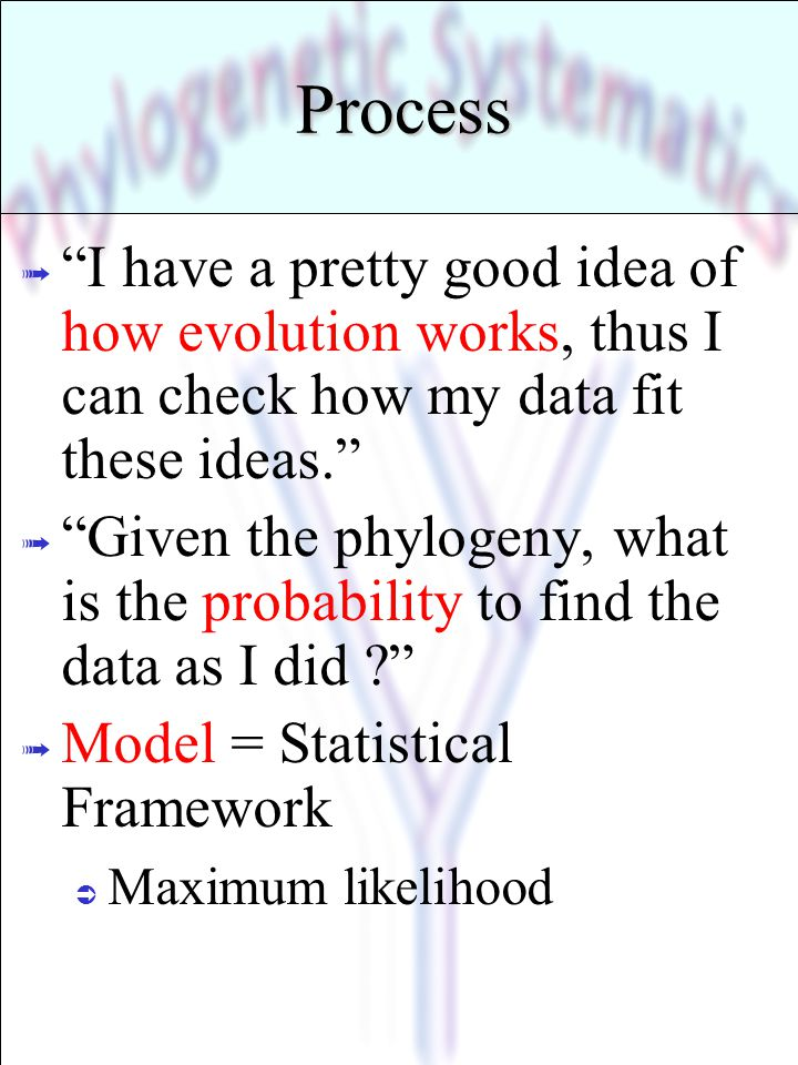 * 07/16/96. Process. I have a pretty good idea of how evolution works, thus I can check how my data fit these ideas.