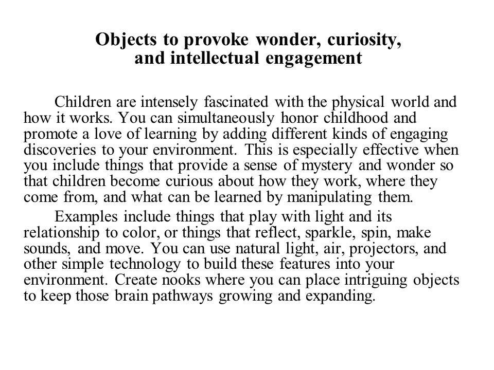 Objects to provoke wonder, curiosity, and intellectual engagement