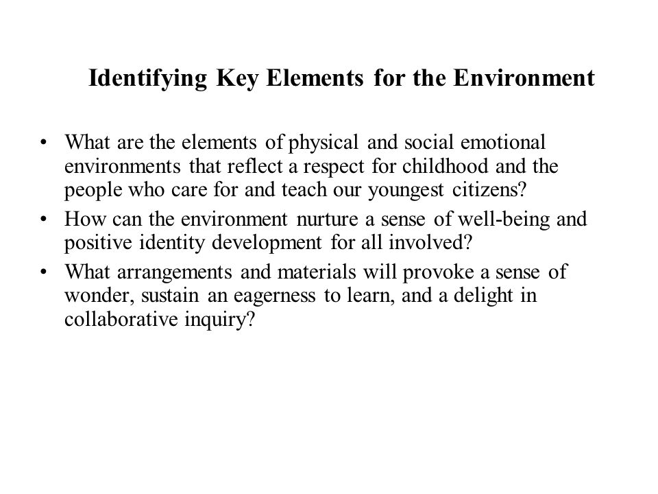 Identifying Key Elements for the Environment