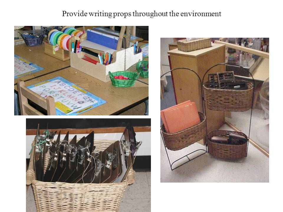 Provide writing props throughout the environment