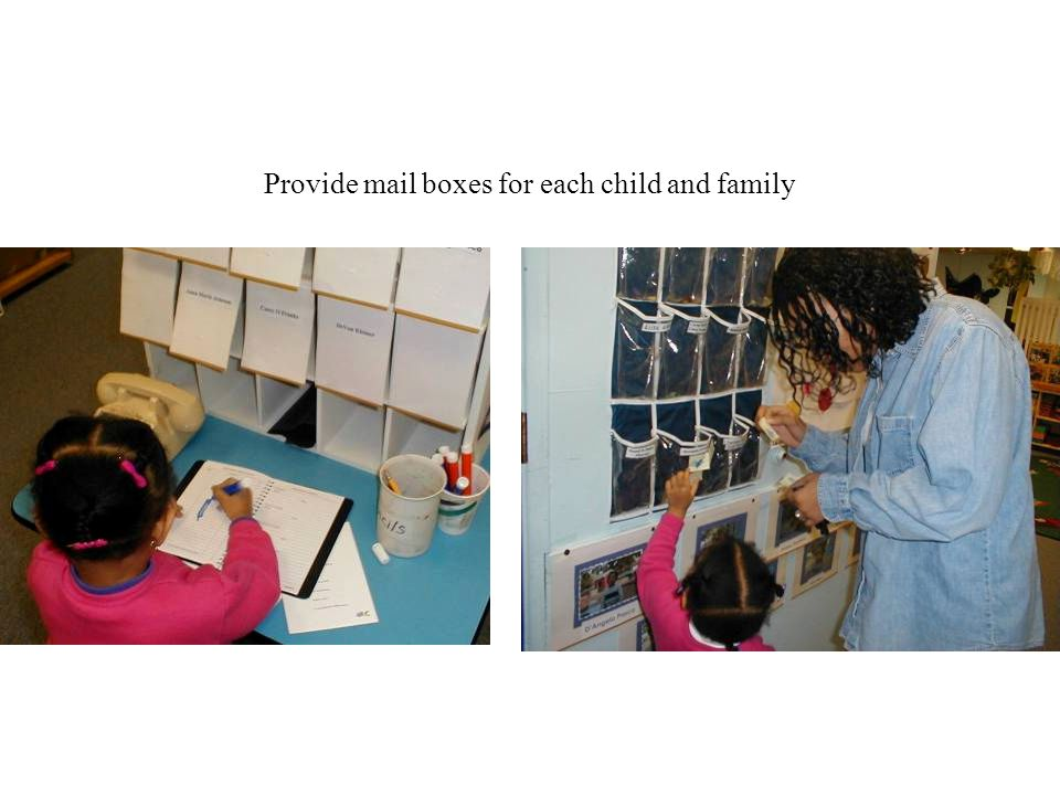 Provide mail boxes for each child and family