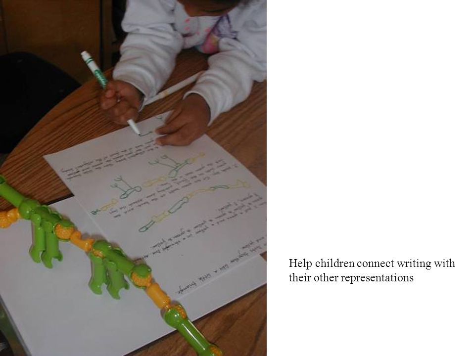 Help children connect writing with their other representations