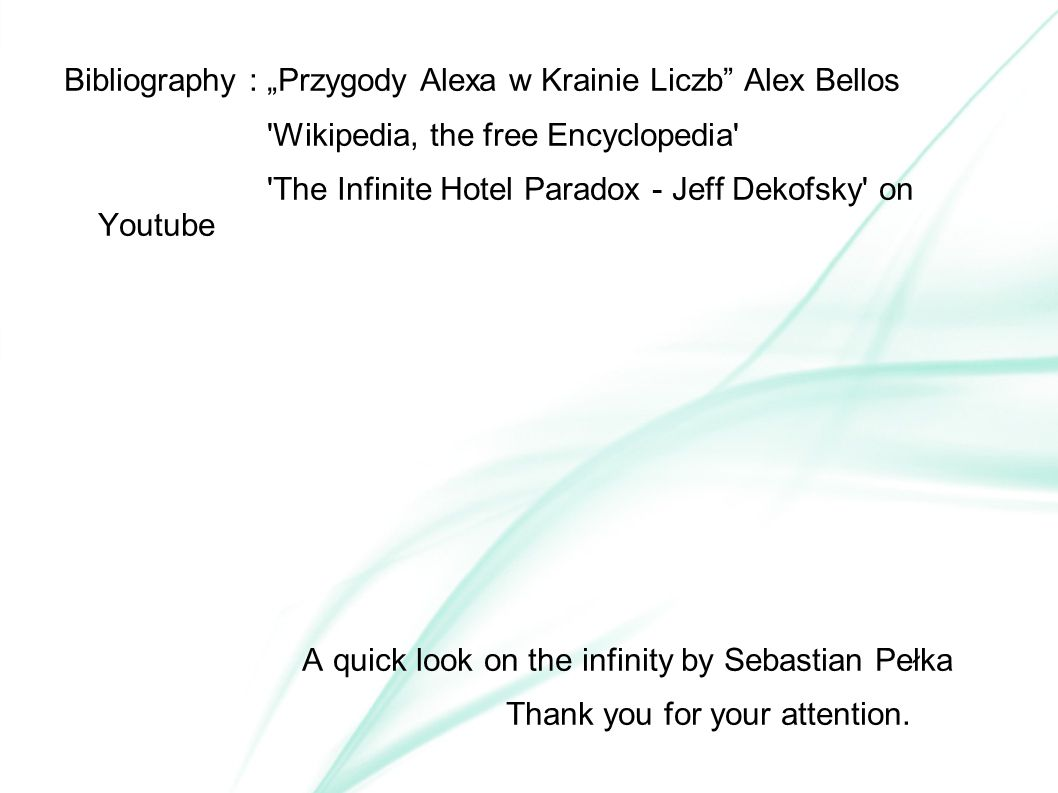 """Bibliography : """"Przygody Alexa w Krainie Liczb Alex Bellos"""